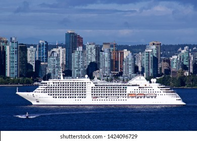 Silver Sea Cruise ship Silver Muse arrives in Vancouver harbour.  Vancouver BC/Canada/June 6th 2019