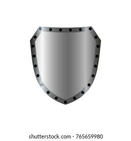 Silver shield shape icon. 3D gray emblem sign isolated on white background. Symbol of security, power, protection. Badge shape shield graphic design illustration