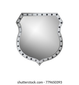 Silver shield shape icon. 3D gray emblem sign isolated on white background. Symbol of security, power, protection. Badge shape shield graphic design. illustration
