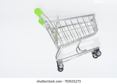 silver shopping cart on white background