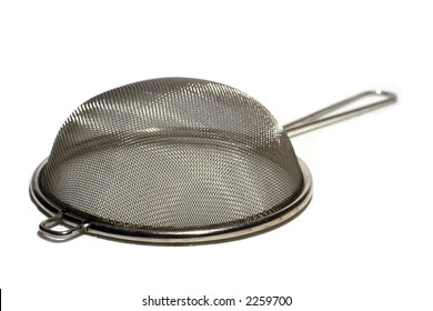Silver sieve isolated on white background