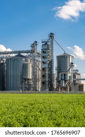 silver silos on agro-processing and manufacturing plant for processing drying cleaning and storage of agricultural products, flour, cereals and grain. Granary elevator.