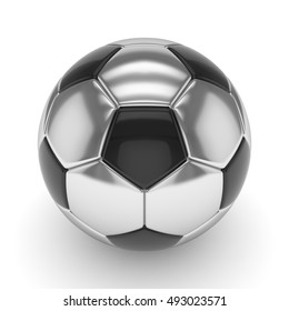 Silver soccer ball on white background. 3D rendering.