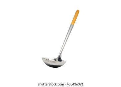silver soup ladle on white background