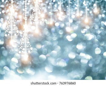 Silver Sparkling Glitter bokeh Background with abstract Christmas light.