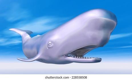 Silver Sperm Whale Computer generated 3D illustration