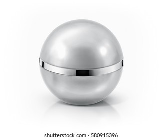 Silver sphere cosmetic jar on white background
