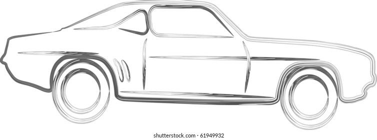 Silver sport Car design in 3D outline illustration