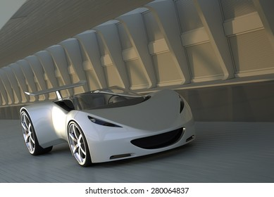Silver sports car driving in tunnel, 3D render