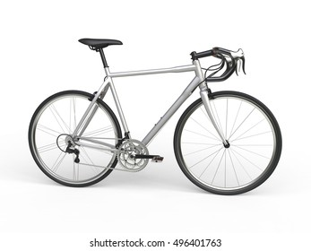 Silver sports race bicycle - side view - 3D Render