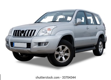 Silver Sports Utility Vehicle Isolated on White