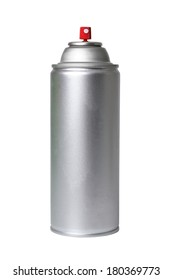 Silver spray can on white background