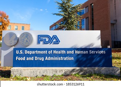 Silver Spring, MD, USA 11-10-2020: Exterior view of the headquarters of US Food and Drug Administration (FDA). This federal agency approves medications, vaccines and food additives for human use.