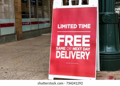 Silver Spring, USA - September 16, 2017: Mattress firm warehouse store facade and sign for limited time same day free delivery