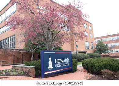 Silver Springs, MD/USA March 7, 2019:  Campus of (HBCU) Howard University  located in Washington, DC.