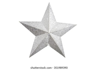 Silver star Christmas tree on white background