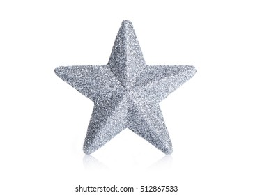 Silver star on a white background