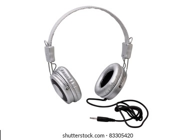 Silver stereo headphones isolated on white background