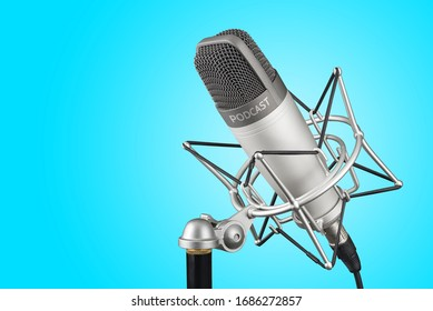 Silver studio condenser microphone with podcast word on blue background