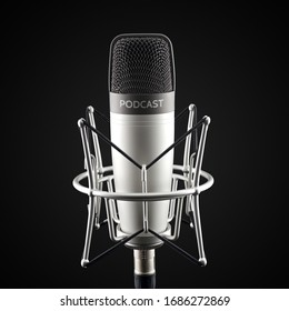 Silver studio condenser microphone with podcast word on black background
