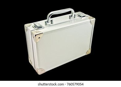 silver suitcase isolated on the black background