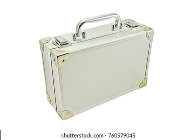 silver suitcase isolated on the white background