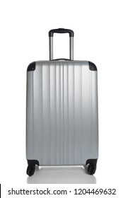 Silver Suitcase on a white background with reflection.