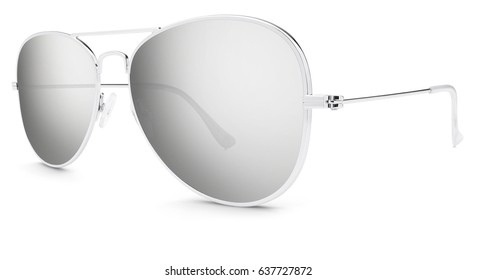 silver sunglasses gray mirror lenses isolated on white background