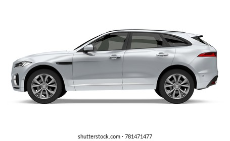 Silver SUV Car Isolated (side view). 3D rendering