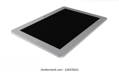 Silver tablet pc on white background