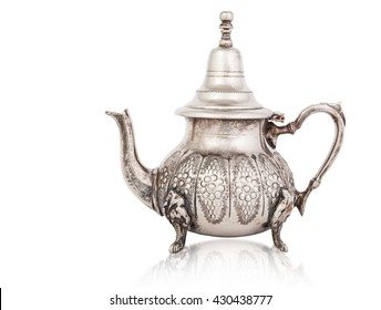 Silver teapot isolated on white with a clipping path.