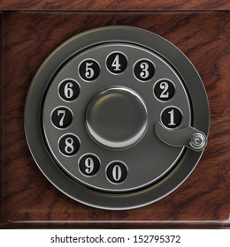Silver telephone disc background. High resolution 3D image