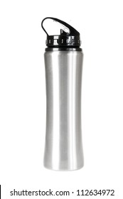 Silver thermos against a white background