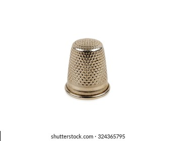 silver thimble isolated on white background