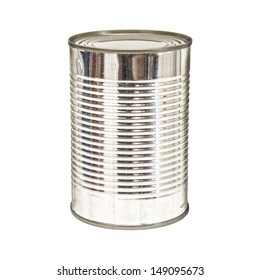 A silver tin can isolated on a white background.