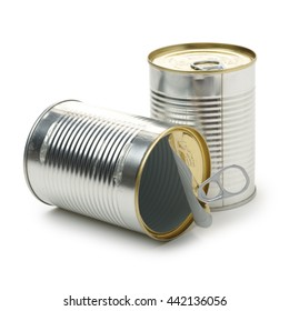 silver tin can isolated on a white background
