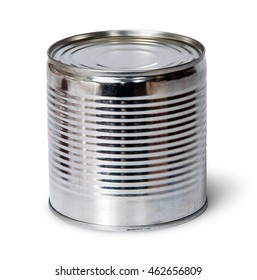 Silver tin can isolated on white background