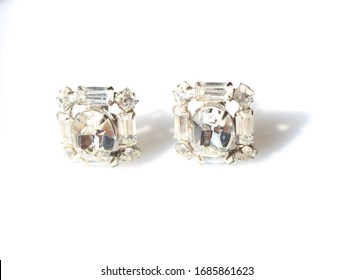Silver tone Art Deco earrings with clear rhinestones