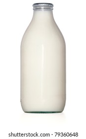 silver top glass milk bottle isolated on white background