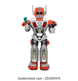 Silver toy robot. Isolated armored plastic silver red toy robot with guns front view.