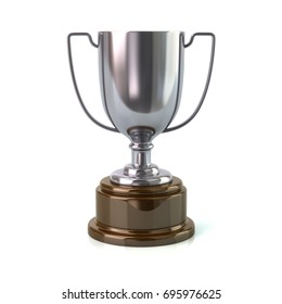 Silver trophy cup 3d illustration on white background