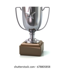 Silver trophy star cup 3d illustration on white background