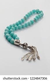Silver Turkish Islamic 33 Prayer Beads, Tesbih, Natural Aquamarine, Tasbih, Misbaha, Sufi Beads, Christmas Gift