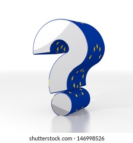 Silver  unclear europe 3d graphic with unresolved question sign  with eu flag pattern