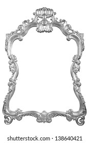 Silver vintage frame isolated on white background