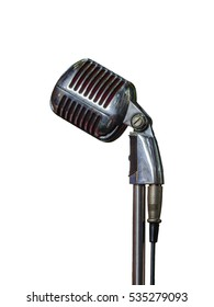 Silver vintage microphone isolated on white background.