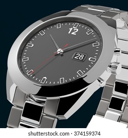 Silver watch in angle on dark background