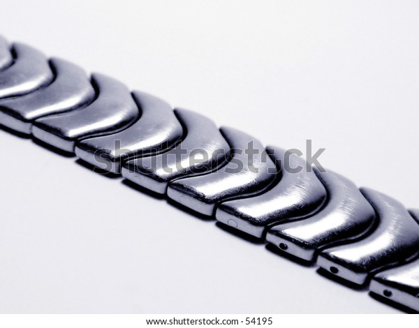 silver watch strap isolated on white background