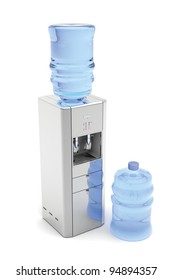 Silver water dispenser with bottles on white