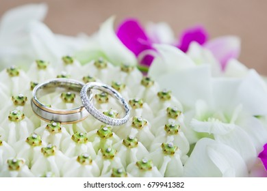 Silver Wedding Rings Resting On Flower Petals.(Selective Focus)